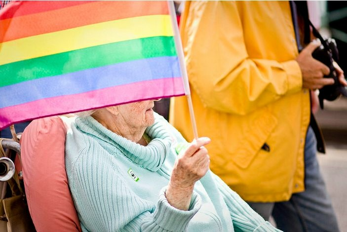 elderly rainbow flag gay pride