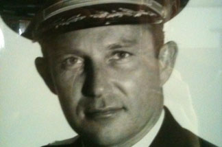 This is a photo of former LAPD Chief Daryl Gates at the Los Angeles Police Academy in Elysian Park.