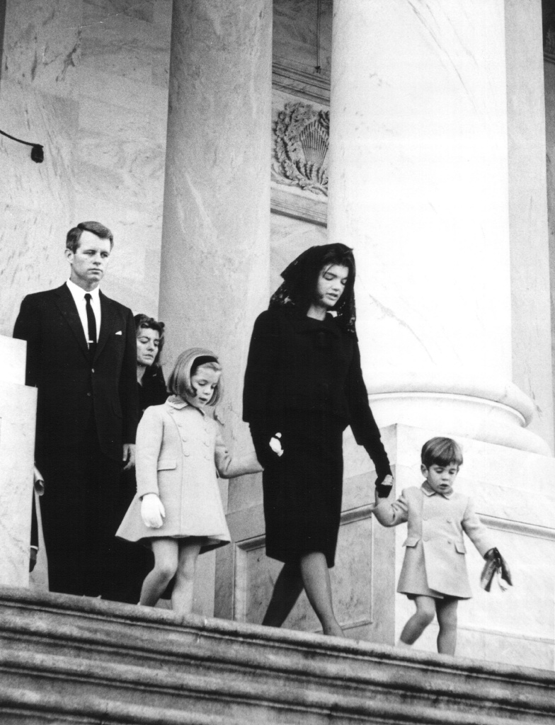Members of the Kennedy family at the funeral of assassinated president John F. Kennedy in Washington D.C on Nov. 24, 1963. From left: Attorney General Robert Kennedy, Caroline Kennedy, Jackie Kennedy and John Kennedy.