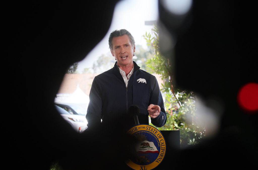 California Governor Gavin Newsom speaks at a press conference following the opening of a new large scale COVID-19 vaccination site at Cal State Los Angeles on February 16, 2021 in Los Angeles, California.