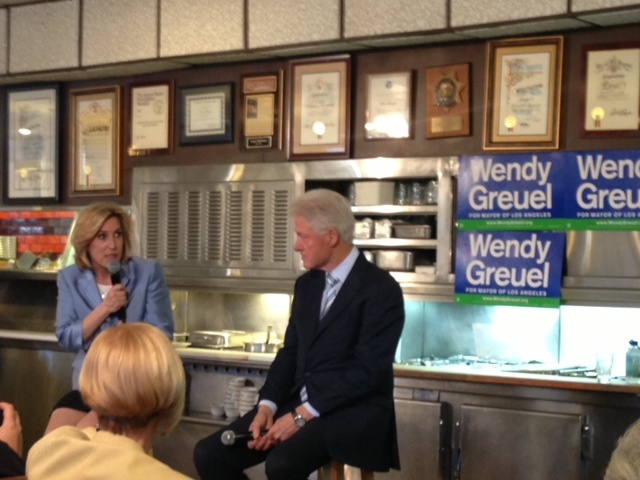 Bill Clinton and mayoral candidate Wendy Greuel participated in a town hall Saturday at Langer's deli in Westlake. The former president had previously endorsed Greuel's mayoral campaign.