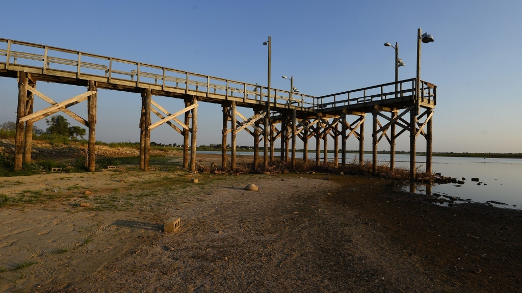 After three years of drought, the water has receded from a dock at Lake Arrowhead State Park near Wichita Falls, Texas.