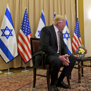 In this handout photo provided by the Israel Government Press Office (GPO), US President Donald J Trump (L) meets with Israel Prime Minister Benjamin Netanyahu at the King David Hotel May 22, 2017 in Jerusalem, Israel.