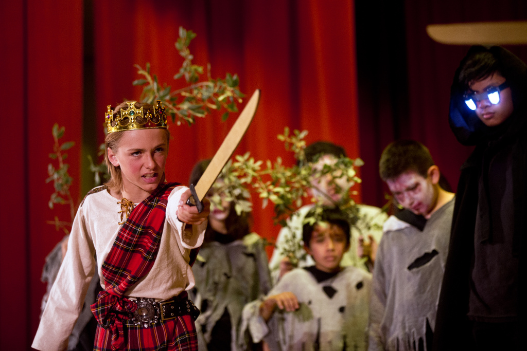 File: Los Angeles Unified 6th-grader Jack Spiewak performs as Macbeth at Eagle Rock Elementary School. District schools can now use a major source of federal funds to incorporate the arts into academics.