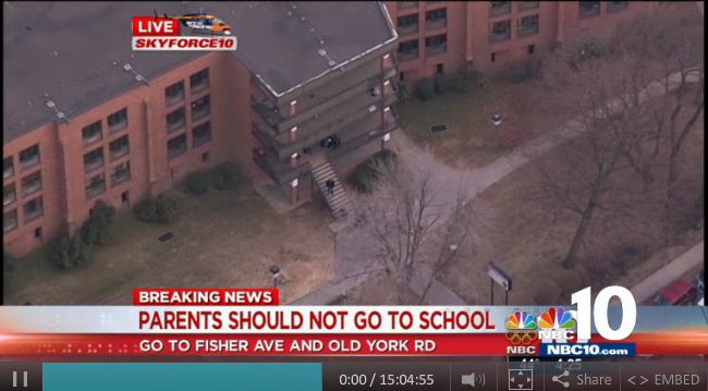 A boy and girl were each shot in an arm at a Philadelphia high school Friday.
