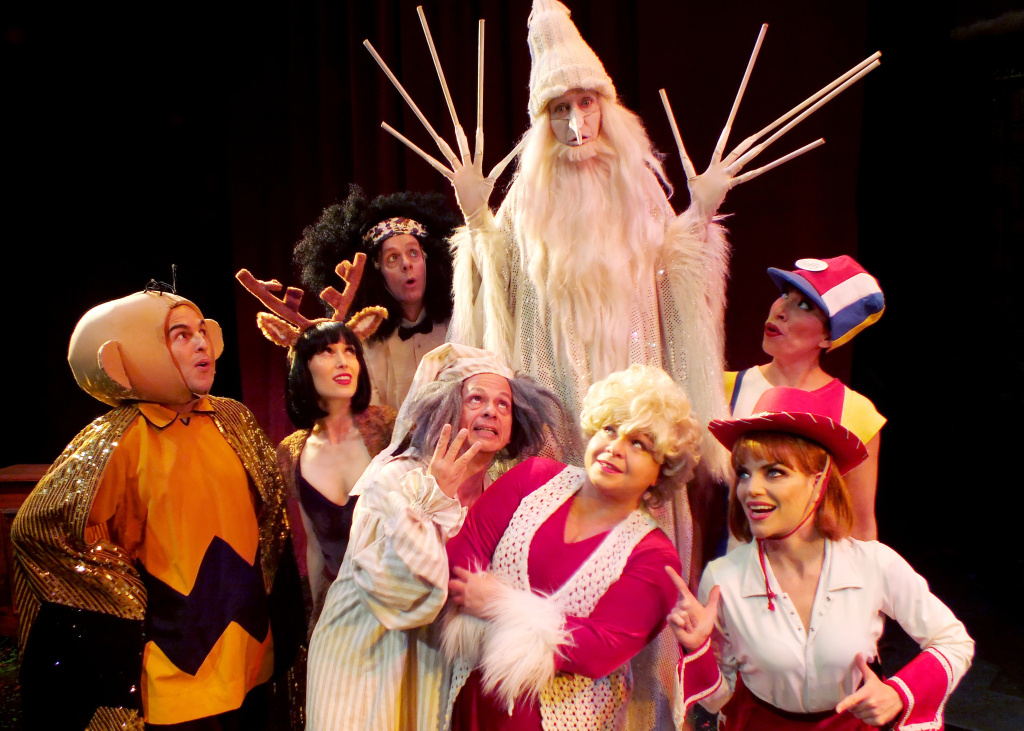 "The cast of Troubadour Theater Company's ""Walkin' in a Winter One-Hit-Wonderland"" at the Falcon Theatre."