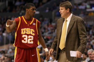 USC head coach Tim Floyd directs O.J. Mayo during the semifinals of the 2008 Pac-10 Men's Basketball Tournament on March 14, 2008