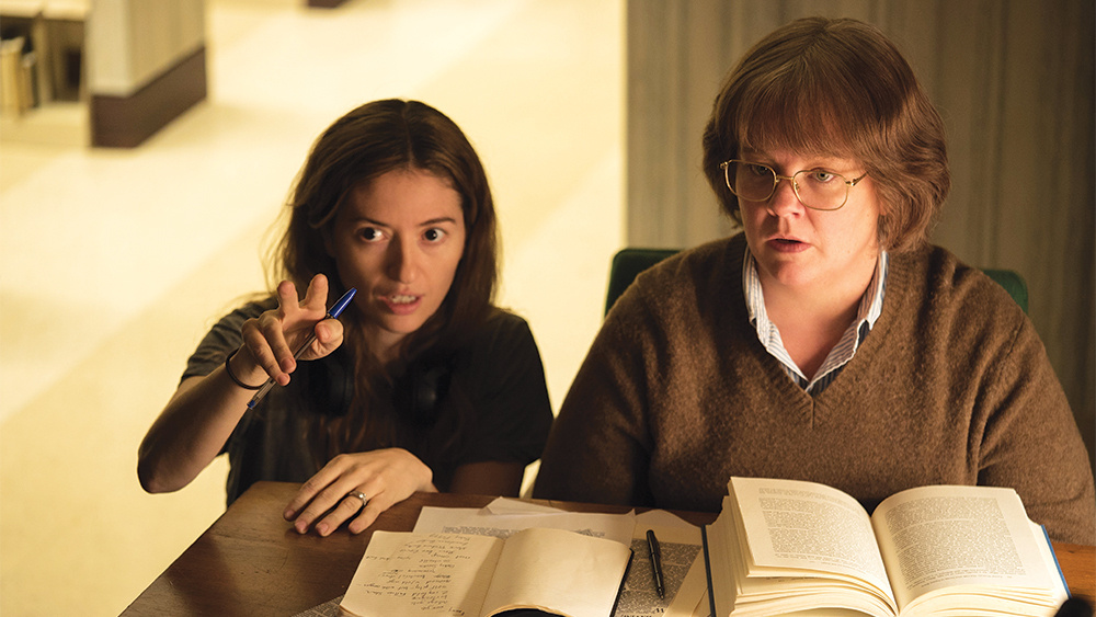 Director Marielle Heller, left, with Melissa McCarthy on the set of