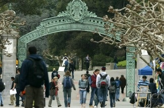 Students walk near Sather Gate on the University of California at Berkeley campus.