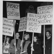 Demonstrators in February 1967 took to the streets following the police arrests at the Black Cat Tavern on New Year's.