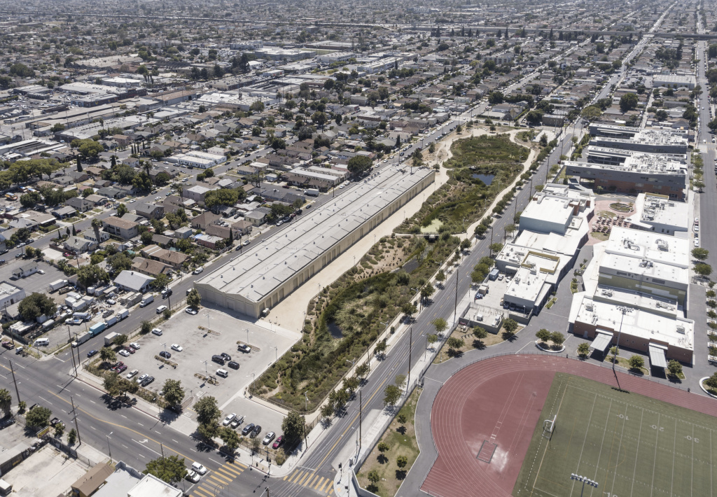 Aerial of South Los Angeles Wetlands site.