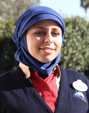 Intern Noor Abdallah in modified Disney uniform