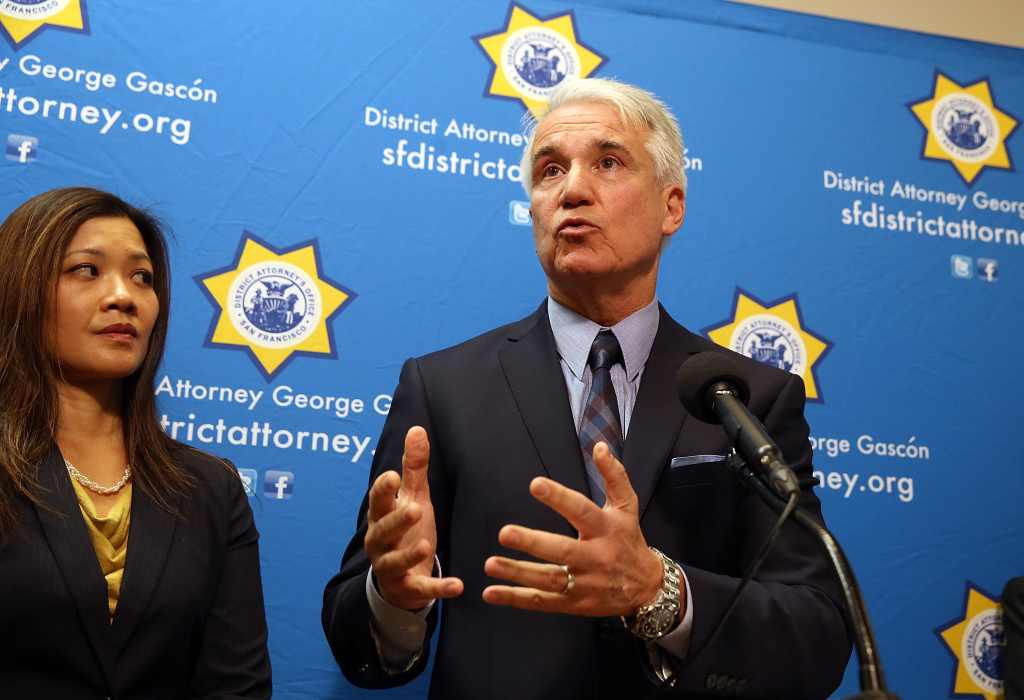 Former San Francisco district attorney George Gascon speaks during a new conference to announce a civil consumer protection action against rideshare company Uber on December 9, 2014 in San Francisco, California. Gascon is the newly elected Los Angeles district attorney.