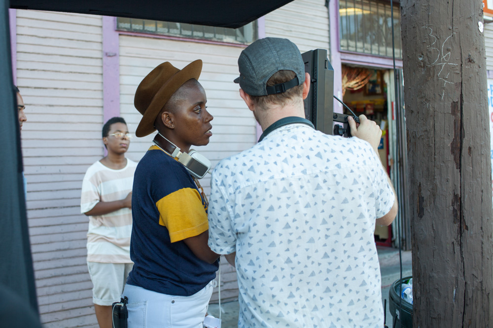 (L-R) Zachariah Waller, Janicza Bravo and Christian Sprenger on the set of Bravo's VR experience