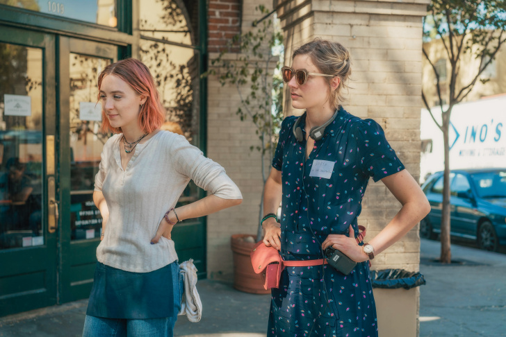 Saiorse Ronan and writer/director Greta Gerwig on the set of