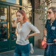"Saiorse Ronan and writer/director Greta Gerwig on the set of ""Lady Bird."" Photo by Merie Wallace, courtesy of A24"
