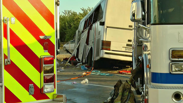 At least five people died on Aug. 2, 2016 after a tour bus crashed into a sign on the highway in Central California on its way up from Mexico, according to the California Highway Patrol.