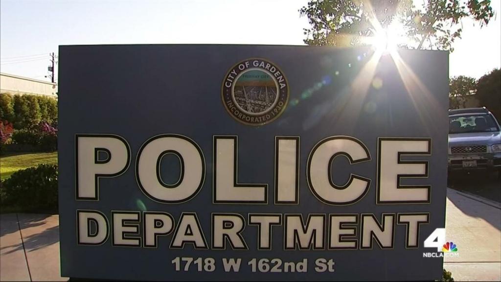 A Gardena Police Department sign. (via NBC L.A.)