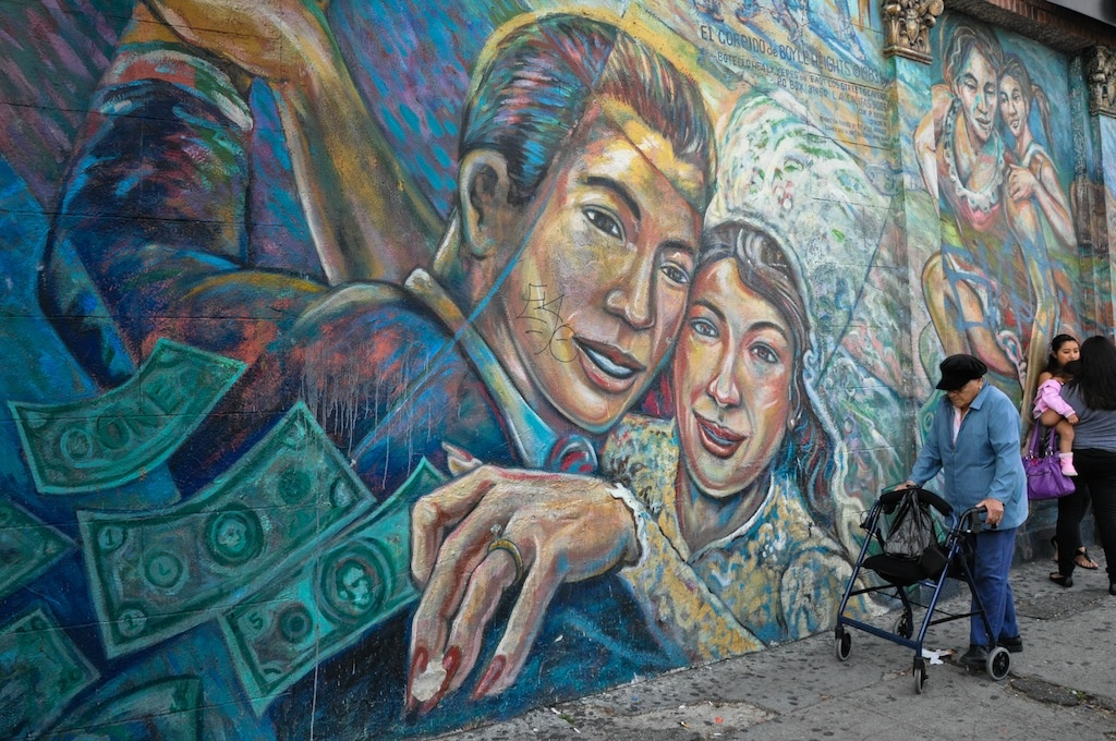 This work in Boyle Heights by East Los Streetscapers (David Botello, Wayne Healy, George Yepes) helped establish L.A.'s reputation as a capital of mural art.