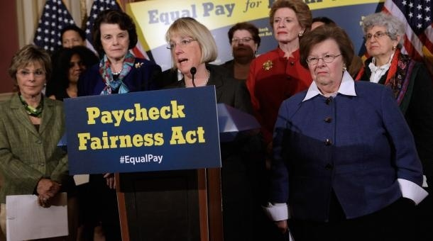Sen. Patty Murray (D-Wash.) (C) speaks about the Paycheck Fairness Act during a news conference with Sen. Barbara Boxer (D-Calif.), Sen. Dianne Feinsten (D-Calif.), Sen. Debbie Stabenow (D-Mich.) and Sen. Barbara Mikulski (D-Md.) in the Lyndon B. Johnston Room at the U.S. Capitol May 23, 2012 in Washington, D.C. The Democratic bill to close the pay gap between men and women fell short today in the Senate along clear partisan lines.