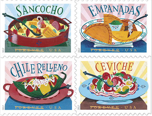 Sancocho, Empanadas, Chile Relleno and Ceviche stamps.
