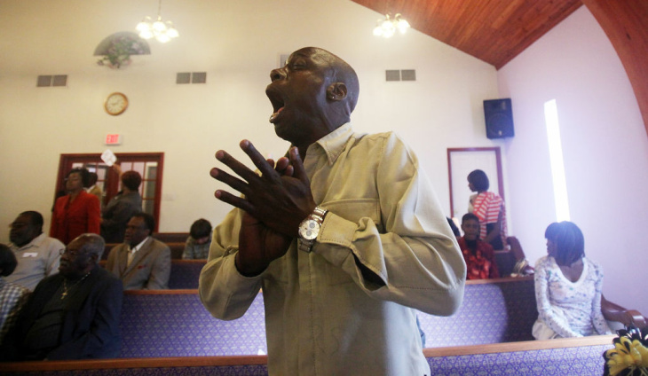 Lower Ninth Ward Residents Attend Sunday Church Services
