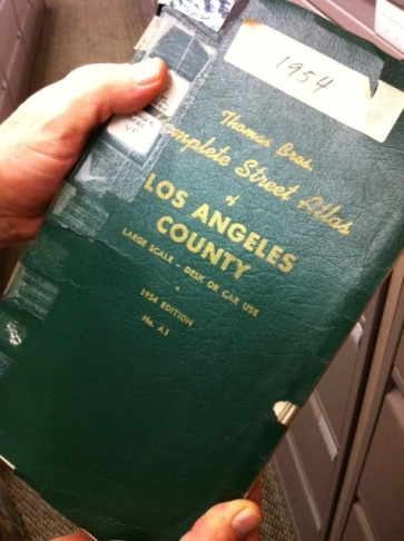 Vintage Thomas Guides at the downtown LA public library.