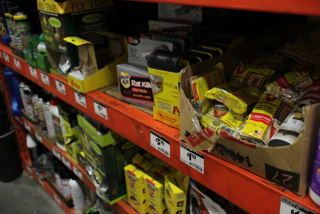 An assortment of rat control products are offered at a Los Feliz home and garden store.