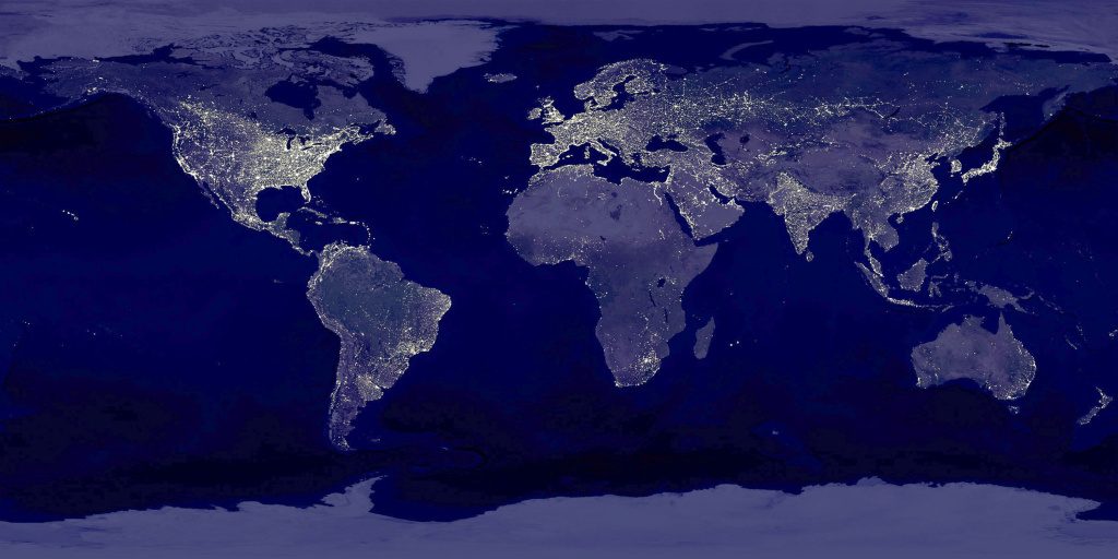 This image of Earth's city lights was created with data from the Defense Meteorological Satellite Program (DMSP) Operational Linescan System (OLS).