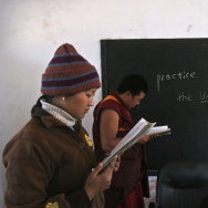 English-language students in China practice their blackboard skills.