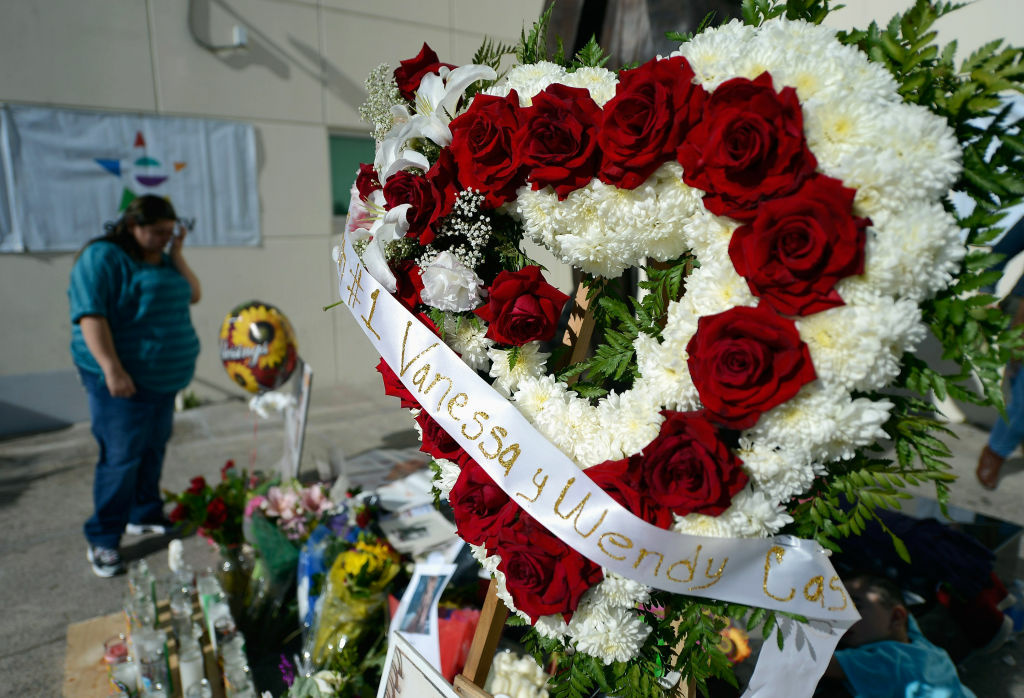 Items are displayed at a makeshift memorial for Mexican-American singer Jenni Rivera at a Mexican radio station that played her songs continuously all day on December 10, 2012 in Burbank, California.