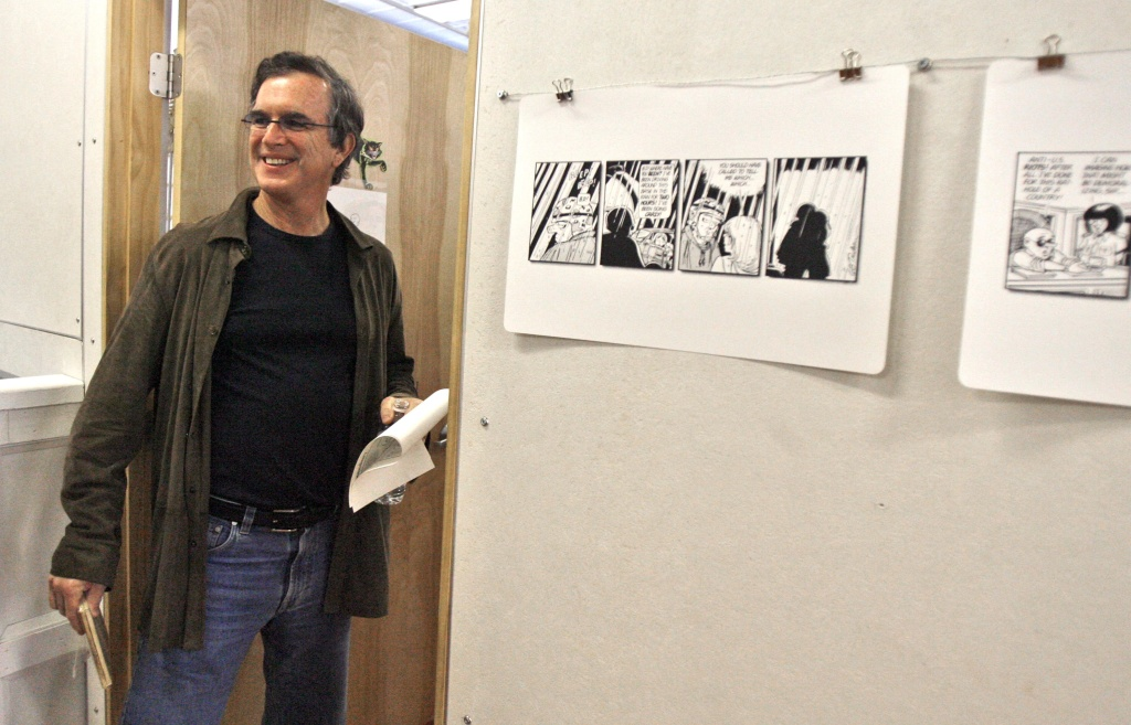 Garry Trudeau smiles as he enters a classroom to speak to students at the Center for Comic Studies in White River Junction, Vt., Monday, Oct. 22, 2007. In a rare public appearance,