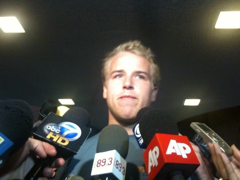 USC football quarterback Matt Barkley talks to reporters about the NCAA sanctions levied against the university's football and basketball programs, June 10, 2010.