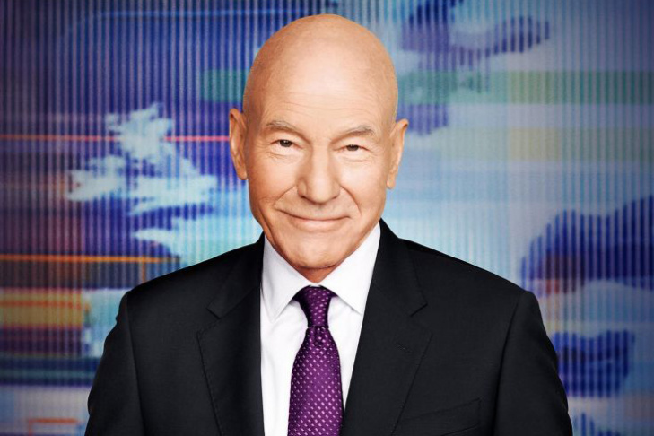 Patrick Stewart plays TV newscaster Walter Blunt in the Starz series,
