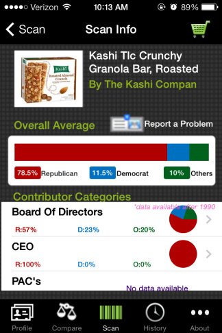 The Buypartisan app allows you to view the political parties manufacturers support before making your purchase.