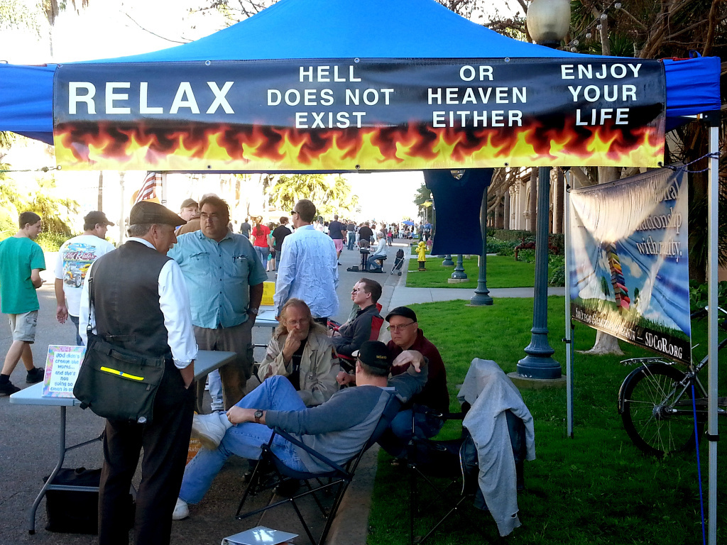 The San Diego Coalition of Reason opened this booth in Balboa Park to support the atheist community and to evangelize nonbelief to religious people.