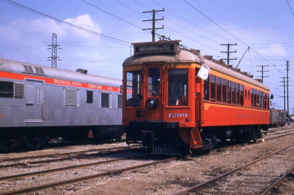 Red Car No. 1299 headed eastbound on Exposition.