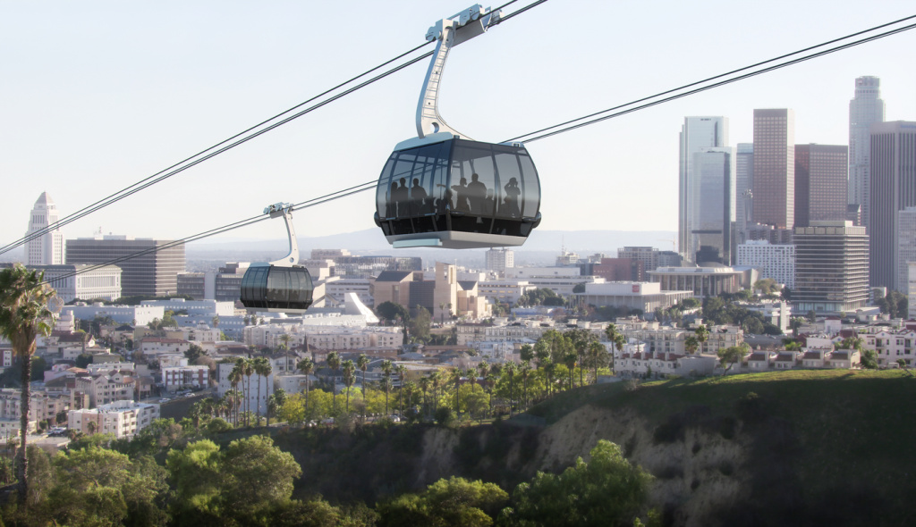 A rendering shows a gondola car carrying passengers from Union Station to Dodger Stadium.