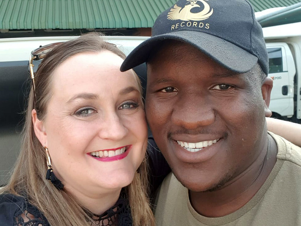 Kim Davey (left), a passenger in Menzi Mngoma's Uber, made a video of his in-car opera singing that went viral.