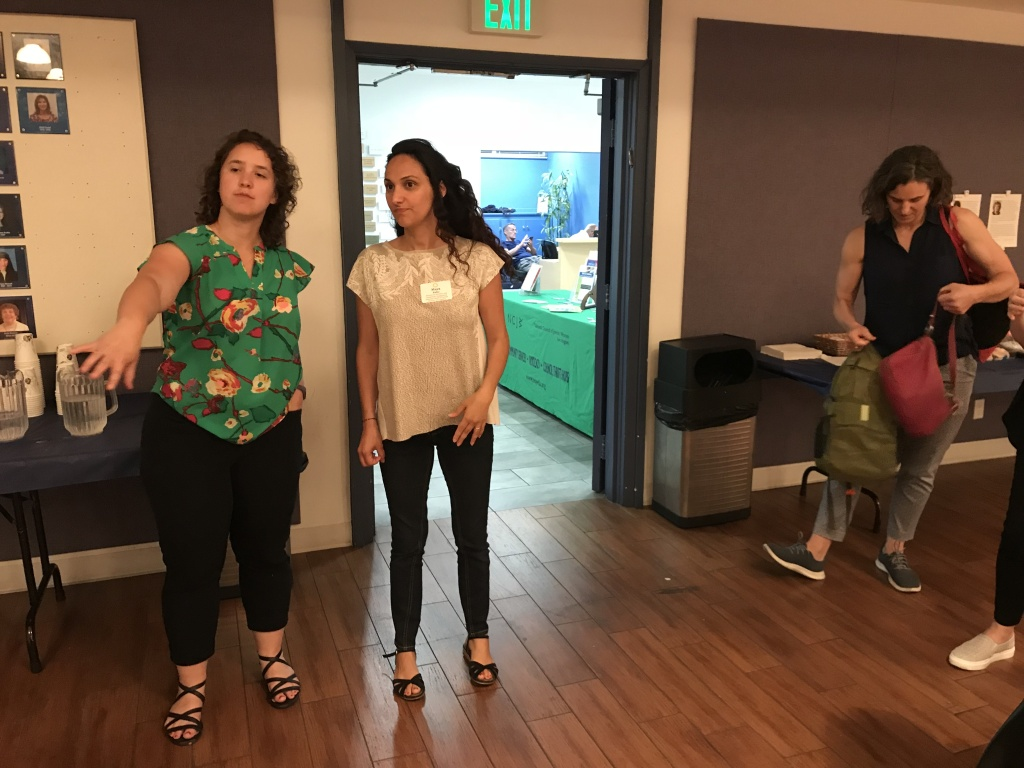 Different Jewish organizations have banded together to hold phone banks for Senate Bill 10. From left to right: Anjuli Kronheim Katz of Bend the Arc; Maya Paley of the National Council of Jewish Women and Brooke Wirtschafter of IKAR, a Jewish congregation.