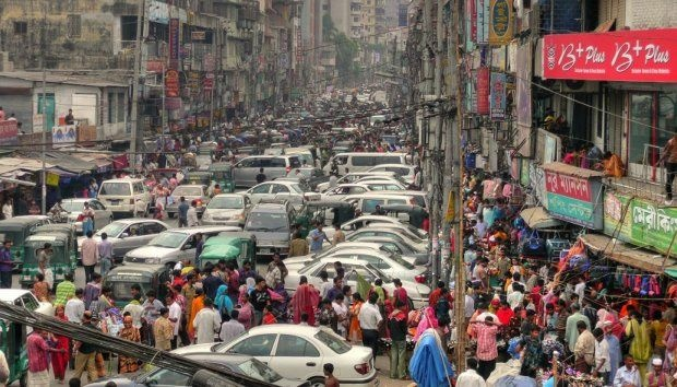 A traffic jam in Dhaka, Bangladesh, March 2008