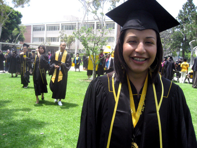 Adriana Gallardo-Martinez graduates from Cal State Long Beach with a Political Science degree and a one year tour of duty in Iraq.