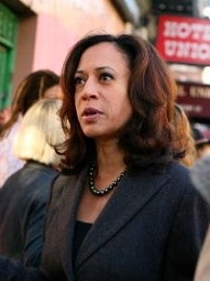 San Francisco District Attorney Kamala Harris speaks to supporters in San Francisco, California.