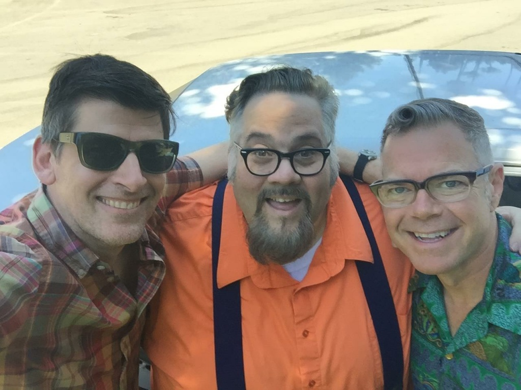 L-R: Three Southern California retro fanatics, John Rabe, Chris Nichols, and Charles Phoenix