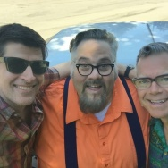 L-R: Three Southern California retro fanatics, John Rabe, Chris Nichols, and Charles Phoenix