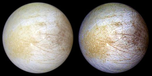 Two views of Jupiter's ice-covered satellite, Europa. The left image shows the approximate natural color appearance of Europa. The image on the right is a false-color composite to enhance color differences in the predominantly water-ice crust of Europa.