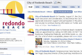 Screenshot of the City of Redondo Beach's Facebook page.
