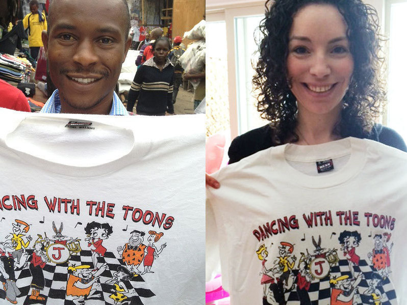A t-shirt from a bat mitzvah 20 years ago made its way to Africa.