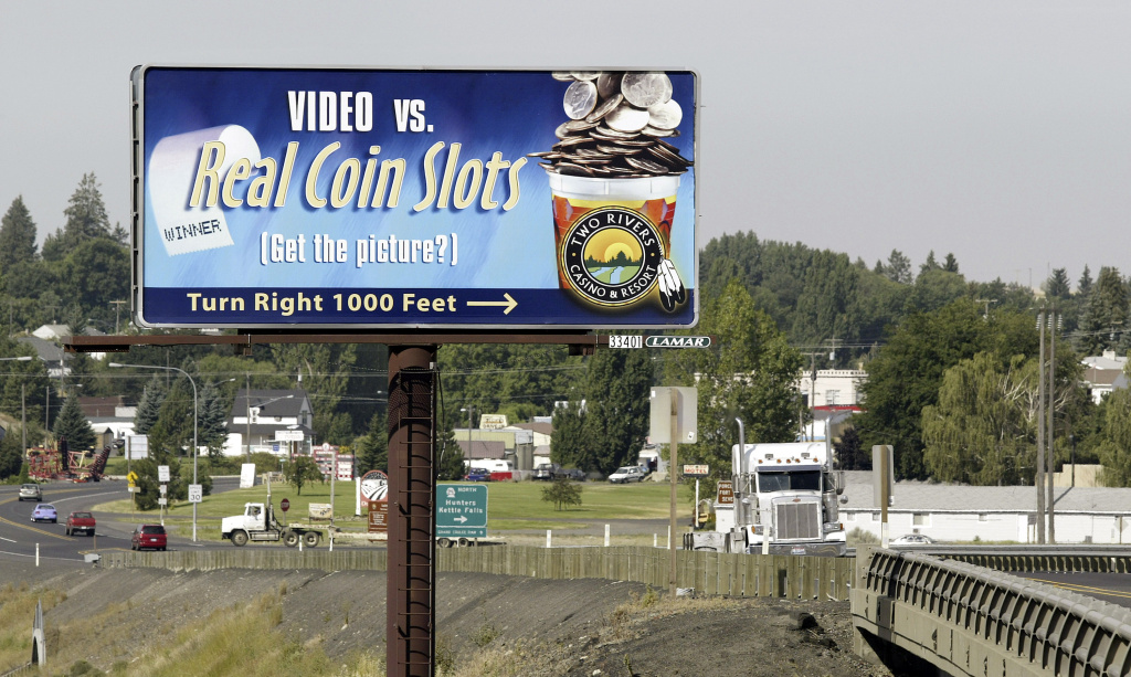 A billboard along State Highway 2 directs tourist and travelers to the Two Rivers Casino and Resort August 1, 2005 north of Davenport, Washington.