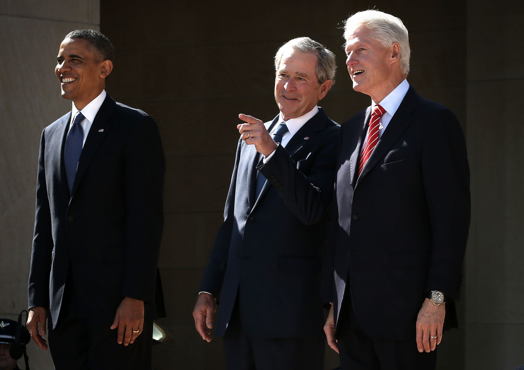 President Barack Obama, former President George W. Bush, and former President Bill Clinton attend the opening ceremony of the George W. Bush Presidential Center in Dallas, Texas. Speaking at the ceremony, Obama gave Bush credit for his work on immigration reform during his time in office.